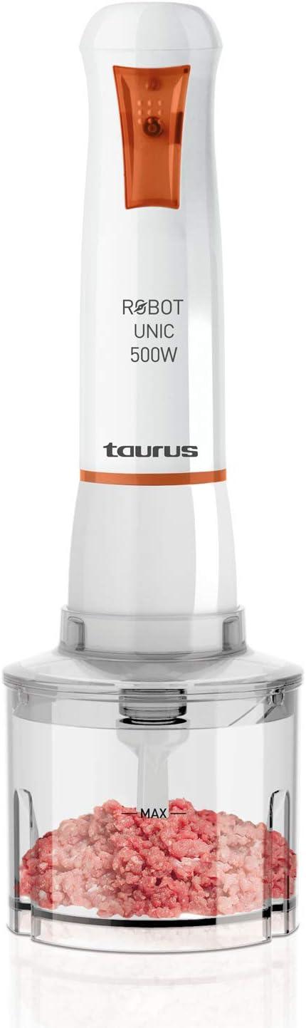 Taurus UNIC500PLUSINOX Batidora, 500 W, 0 Decibelios, Plástico, Blanco/Naranja: Taurus: Amazon.es: Hogar