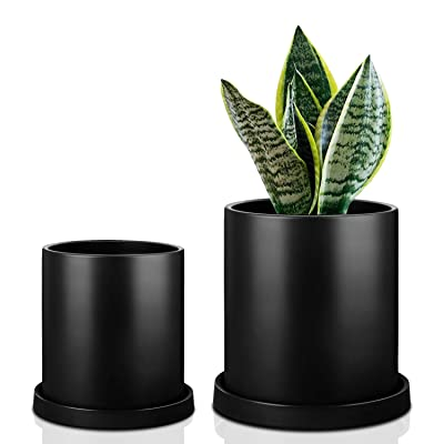 MoonLa Plant Pots - 5.7 + 4.8 Inch Black Matt Ceramic Planter for Flower, Cactus, Succulent Planting, with Drainage Hole & Saucer, Set of 2 (Plants Not Included): Garden & Outdoor