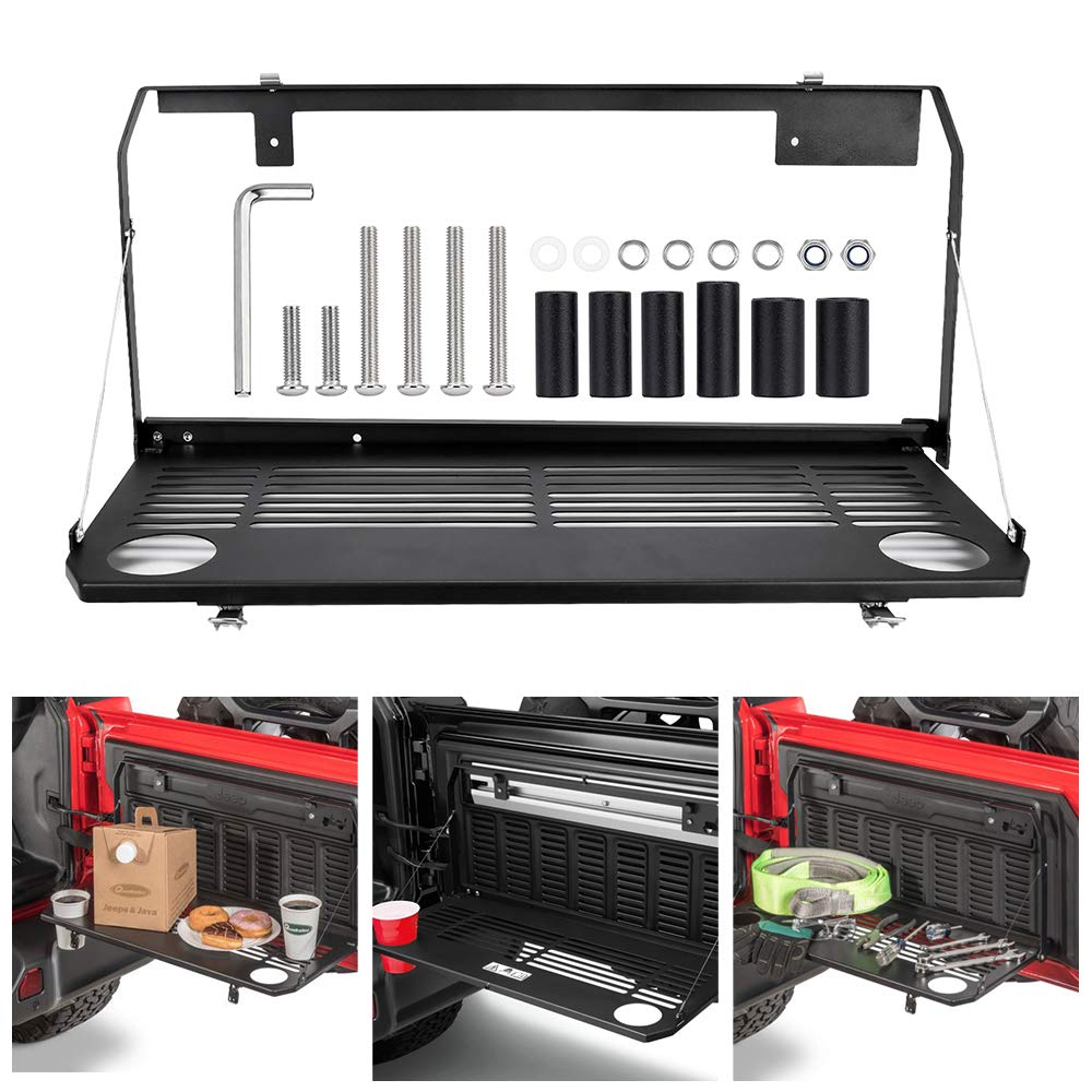 Foldable Rear Door Tailgate Table Rear Cargo Shelf Rear Storage Rack for 2018-2019 Jeep Wrangler JL 2//4 Door Accessories