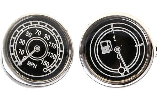 MRCUFF Speedometer and Fuel Guage Auto Racing Cufflinks Pair