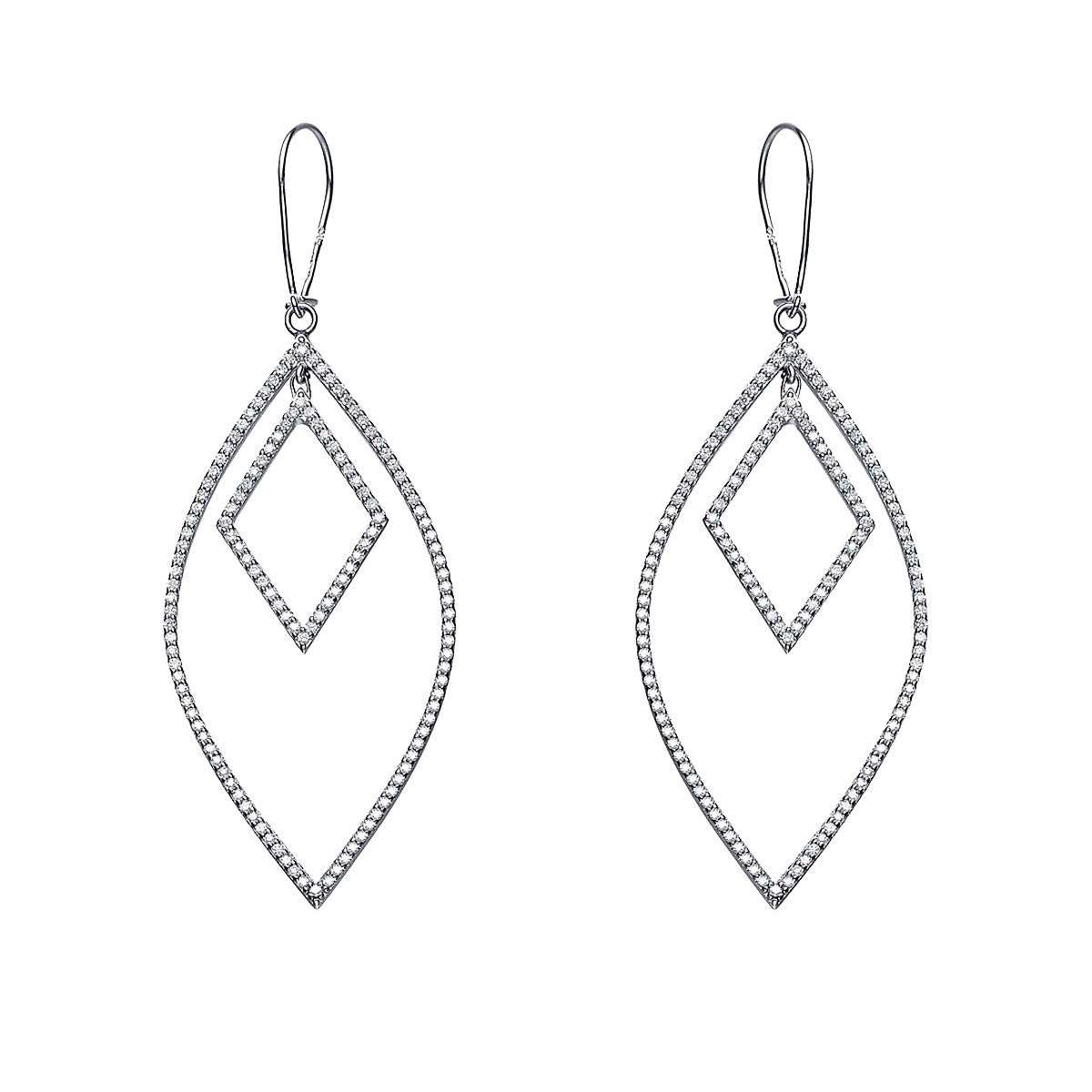 0.75 TCW Round Cut Simulated Diamond Drop Dangle Earrings 14k White Gold Over