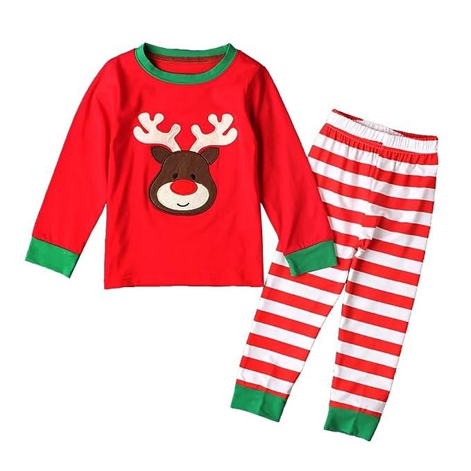 Navidad Pijamas largo los Niñas Niños dos piezas de para de Santa Elk 100% algodón