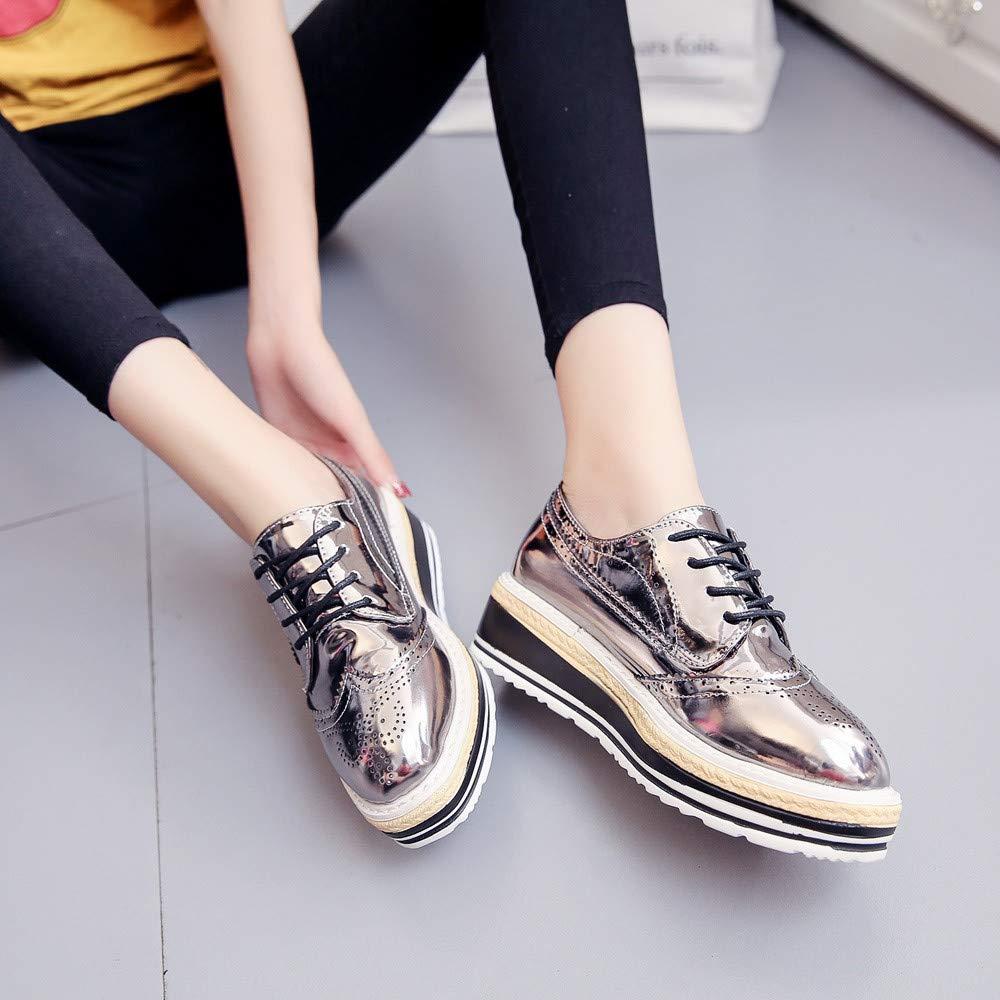 MOIKA Derbies Femme Chaussures /à Plateformes Bout Rond /à Talons Bas Brogues Richelieu /à la Cheville Ballerines Casual