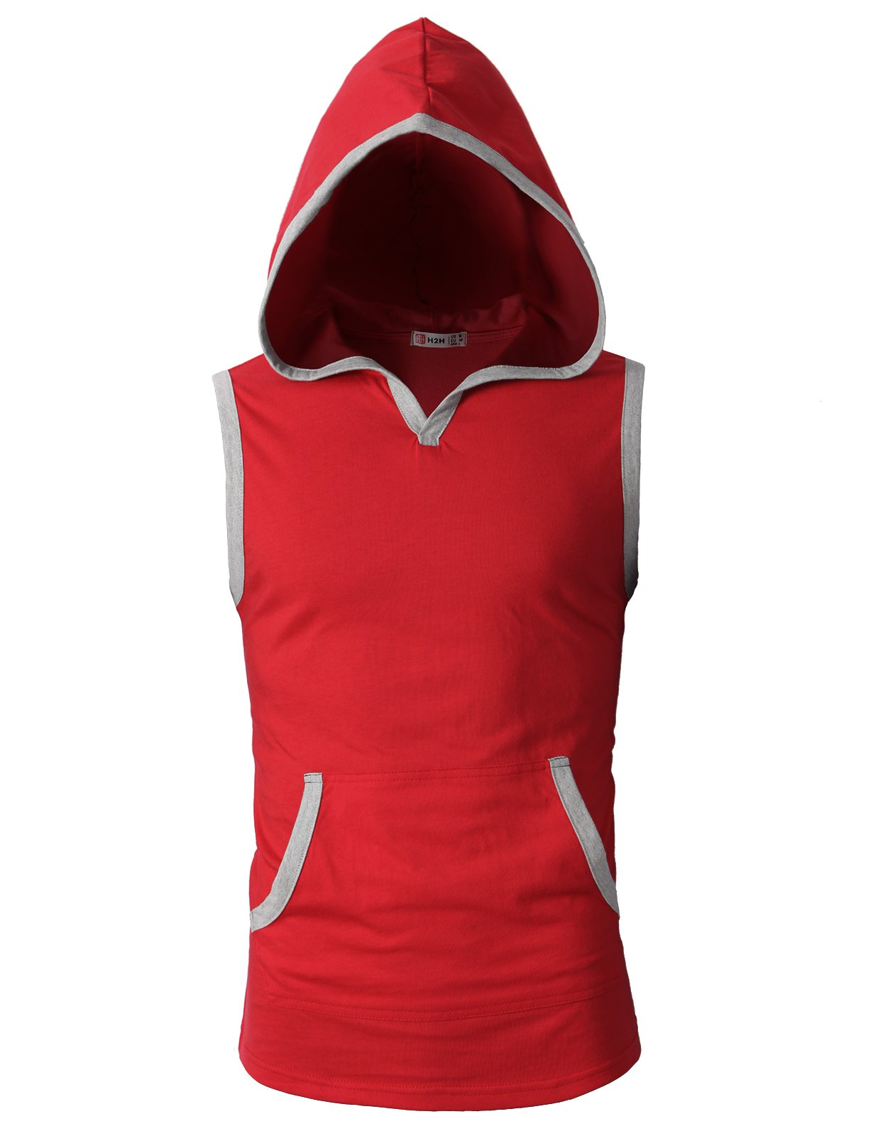 H2H Mens Fashion Slim Fit Sleeveless Lightweight Tank-top with Hoodie RED US S/Asia M (CMTTK015)