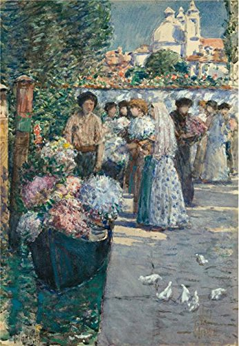 'Childe Hassam,Flower Market,1895' Oil Painting, 16x23 Inch / 41x59 Cm ,printed On High Quality Polyster Canvas ,this Imitations Art DecorativeCanvas Prints Is Perfectly Suitalbe For Bedroom Artwork And Home Artwork - Brown Orle