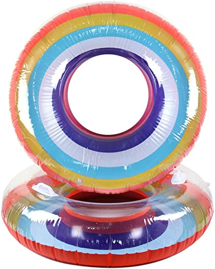 Amazon.com: Anillo de natación hinchable con arco iris para ...