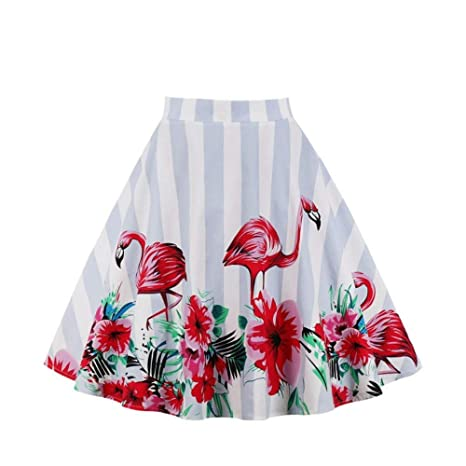 HEHEAB Falda,Blanco, Rojo Animal Flamingo Verano Falda De Cintura ...