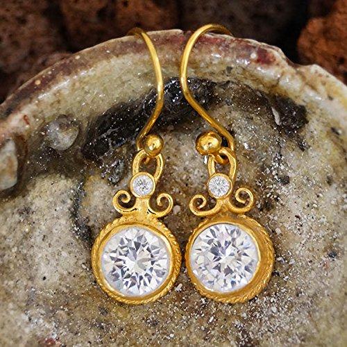 Sterling Silver White Topaz Earrings Handmade By Omer 24k Yellow Gold Vermeil