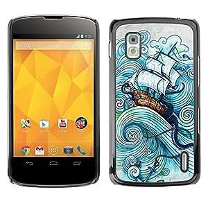 For LG Google NEXUS 4 / Mako / E960 Case , Sail Ship Boat Sea Storm Ocean Captain - Diseño Patrón Teléfono Caso Cubierta Case Bumper Duro Protección Case Cover Funda