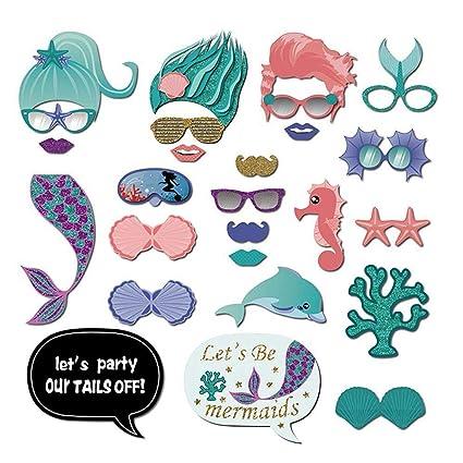 Aolvo Sirène Photomaton 26 Pièces Mermaid Party Mariage Fournitures