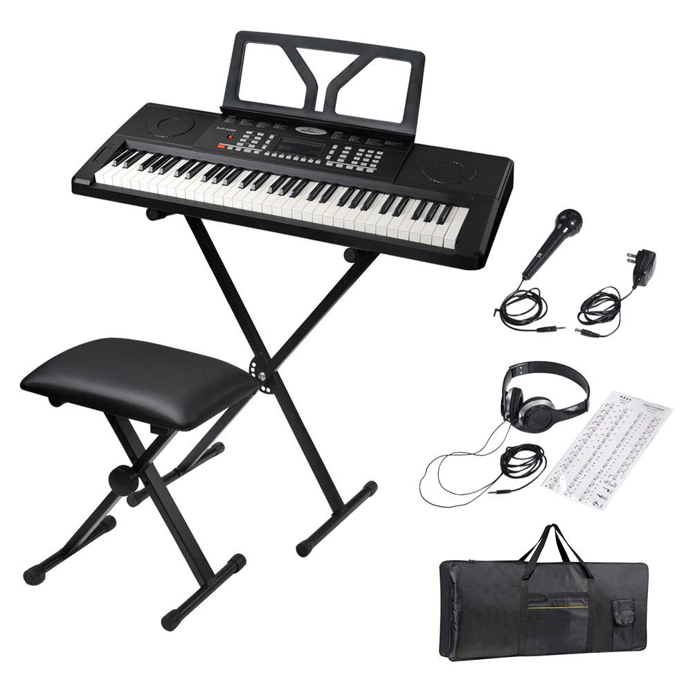 ADM 61 Key Portable Electronic Keyboard Piano Beginner Kit with Stand, Padded Bench Stool, Microphone, Headphone, Keyboard Bag and Keyboard Sticker by ADM