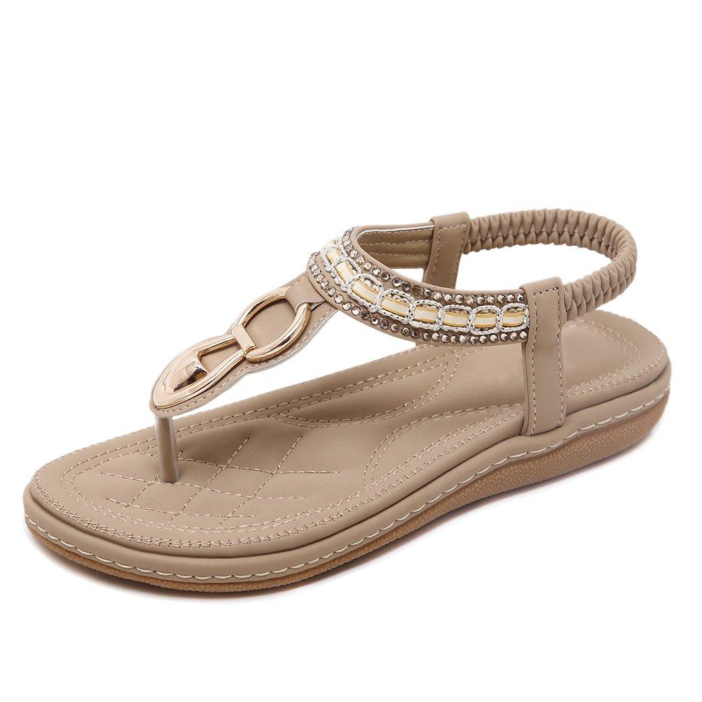 YoungSoul Damen Sandalen mit Verzierung Sommer Schuhe PU Leder Bohemia Stil Flach Sandalen Zehentrenner  EU 40/Asien 42|Aprikose