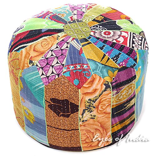 Eyes of India - 16 X 10 Small Colorful Round Kantha Ottoman Pouf Pouffe Cover Floor Seating Boho Bohemian by Eyes of India