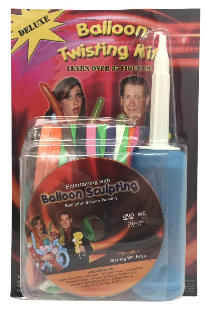 Amazon Com Will Royas Deluxe Balloon Twisting Kit With Dvd Inflator And Balloons Toys Games