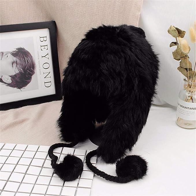 MZ Cappello di Lana Femminile Autunno e Inverno Cappello Lei Feng Moda  Carino Spessa paraorecchie Calda Pelliccia Palla Cappello di Pelliccia di  Coniglio ... 009a8ae9d378