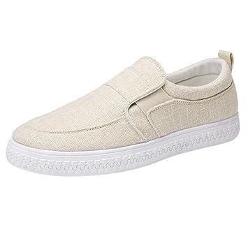 LuckyGirls Hombre Zapatillas para Andar Casual Calzado de Planos Color Puro Transpirables Informales Bambas Zapatos para Perezoso Náuticos Mocasines: ...