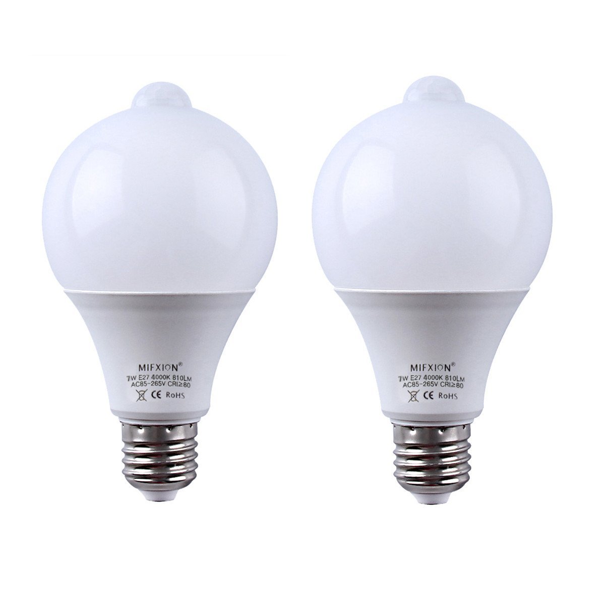 2-Pack 7W E27/E26 Motion Sensor + Light Sensor Detector Activated LED Light Bulbs Lamp Automatic LED Indoor Lighting for Closet,Basement,Stairs,Front Door,Garage and Entrance - Natural White 4000K