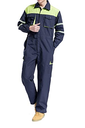 5326f7f3064 Image Unavailable. Image not available for. Color  Hakjay Mens Mechanic  Coverall Enhanced Visibility Overall Welding Flame Resistant Work Wear