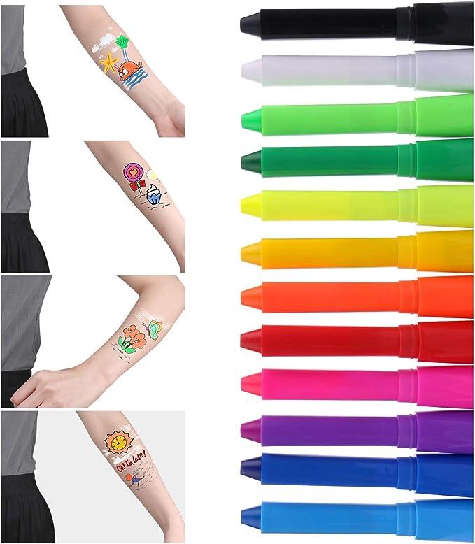 Luxbon 12 Colores Pintura Facial Niños, Crayones de Pintura de ...