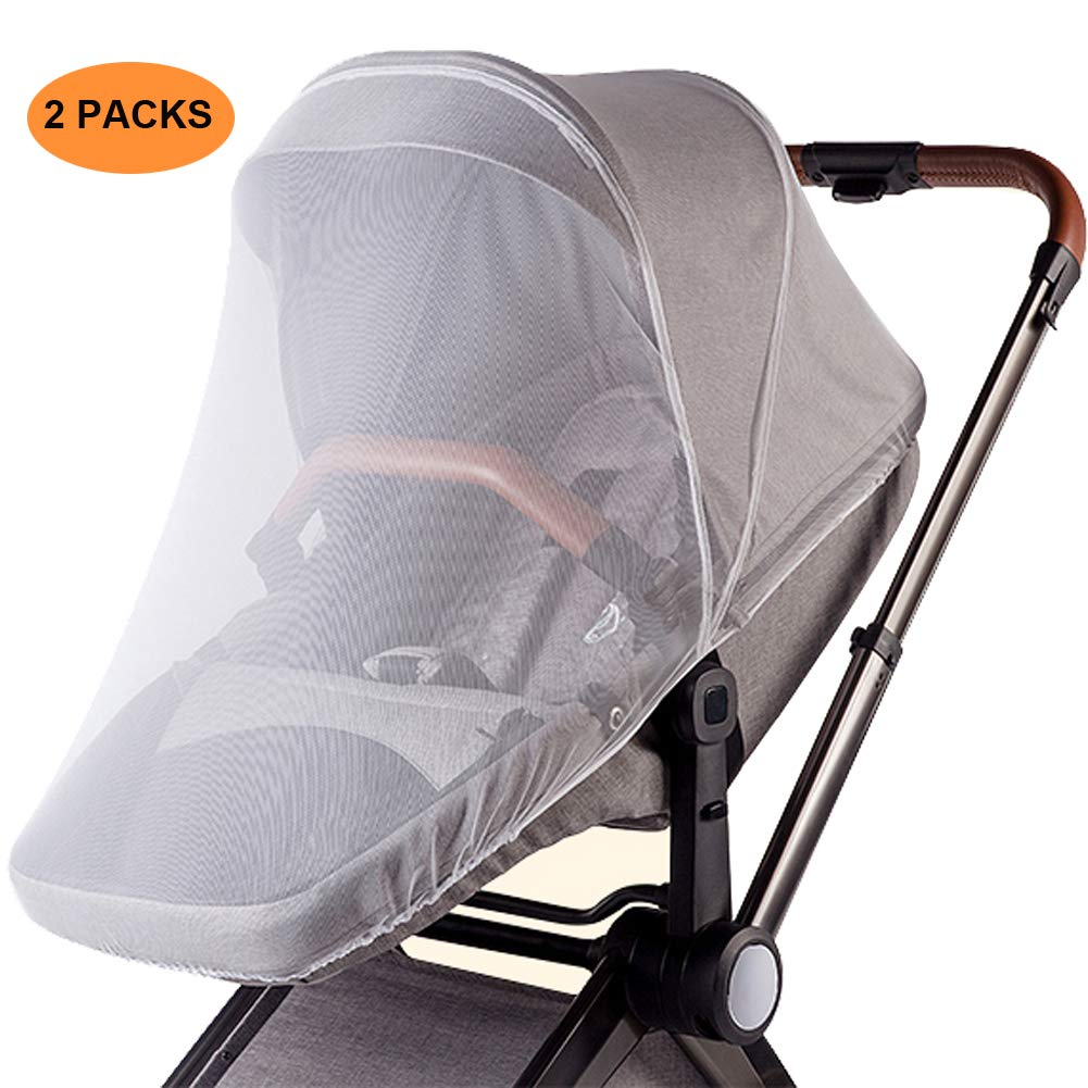 Mosquito Net Cradles Bassinet Carseat Cover Carriers White AMORBASE Stretchable Insect Bug Netting for Baby Carseat