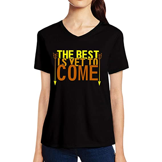 50ef979246809 Pooplu Womens The Best is Yet to Come Cotton Printed V Neck Half Sleeves  Black   White T-Shirt Year
