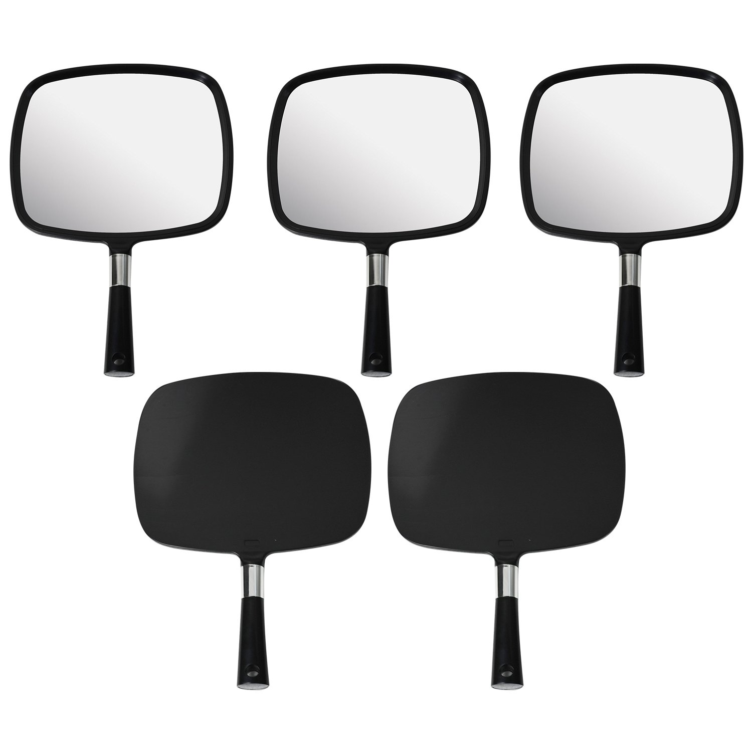 Mirrorvana Large & Comfy Hand Held Mirror (Black), Bulk Pack of 5 by Mirrorvana