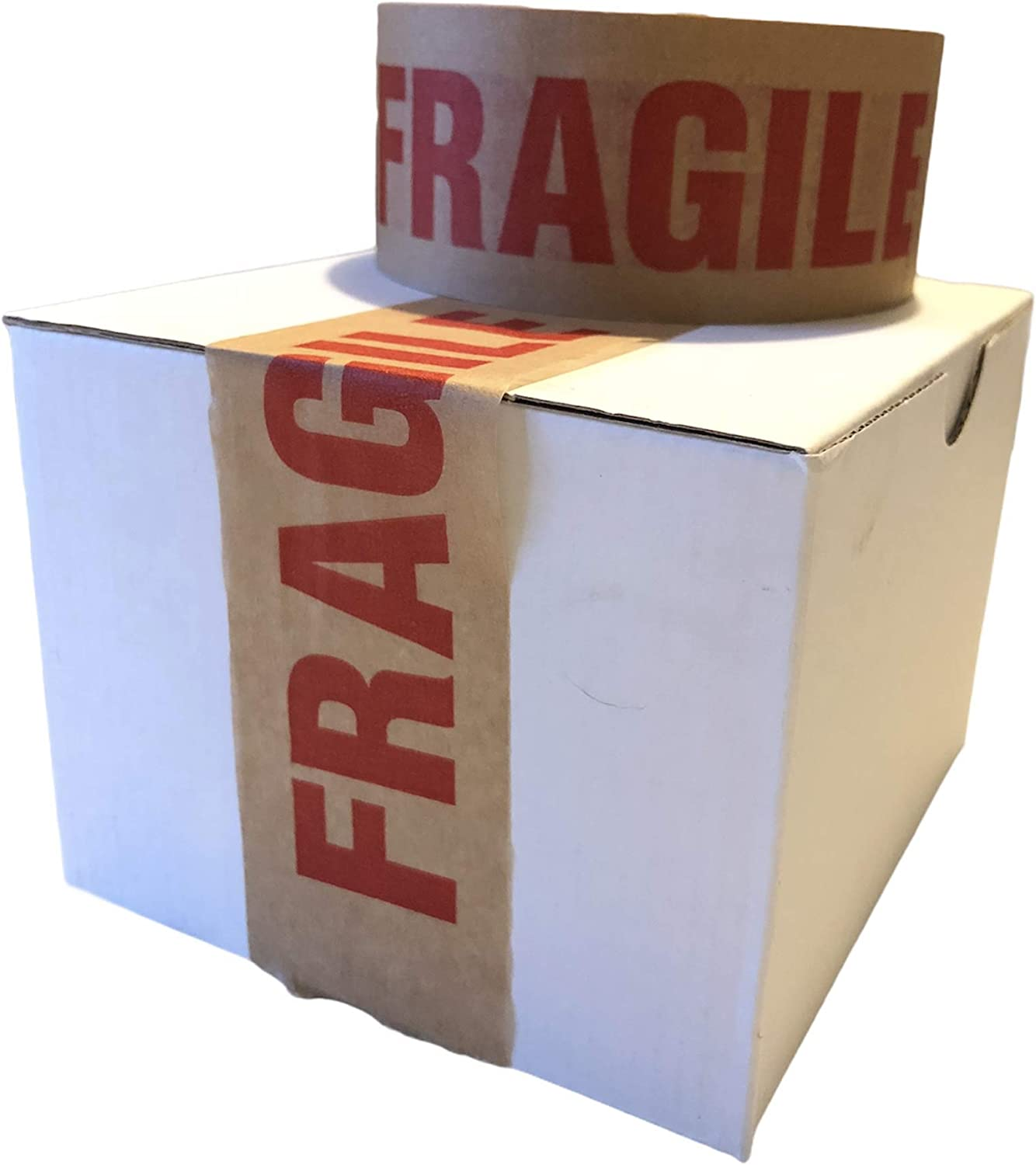 Eco-Friendly Brown Paper Packaging for Moving House Pack of 2 Fully Recyclable Strong Paper Packaging Kite Tape 50m x 50mm Fragile Printed Kraft Paper for Packing Parcels and Boxes