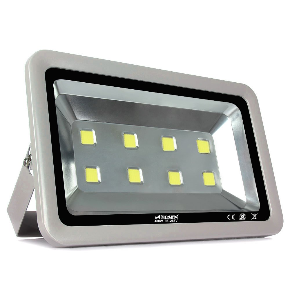 LED Flood Light, Morsen Super Bright 400W Daylight White 6000K Floodlight Fixture, 40000lm, 8LEDs, Waterproof IP65 Outdoor Security Light Wall Light