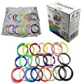 AMMAZE 3D Pen Filament Refills 1.75mm ABS 22 Colors (4 Fluo & 2 Glow In The Dark). 361 LINEAR FEET