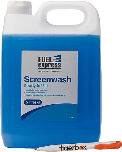 Limpiaparabrisas Fuel Express listo para usar, líquido para el parabrisas para invierno y bolígrafo antibacteriano Tigerbox: Amazon.es: Coche y moto