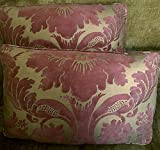 Mariano Fortuny Cotton Fabric Custom Designer Throw Pillows Red Gold Metallic Vivaldi Set of 2 New