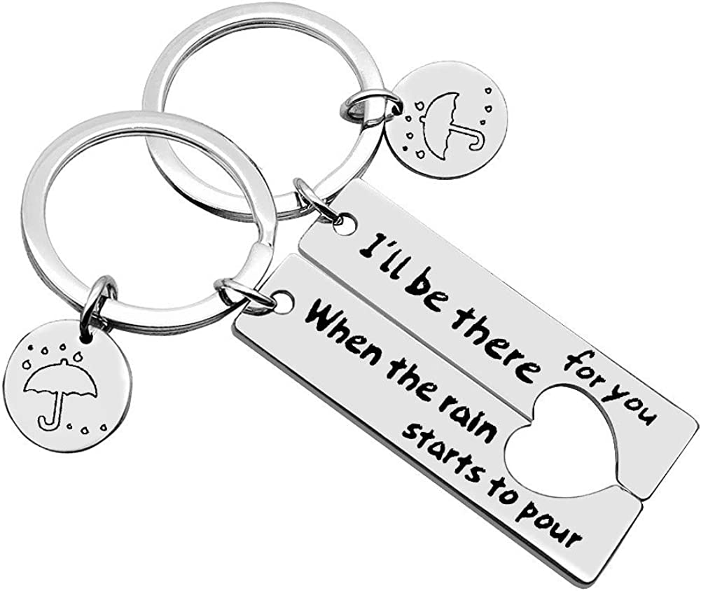 Couple Keychain I'll Be There for You Keychain Set TV Show Friend Inspired Keyring Gift for Best Friend Couple Friends Graduation Gifts Dad Mother Jewelry Gift