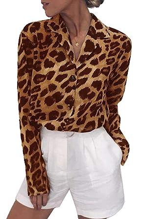 4612c351a7a442 YYG Womens Long Sleeve Button Down Casual Leopard Print Chiffon Shirt Blouse  Top at Amazon Women's Clothing store: