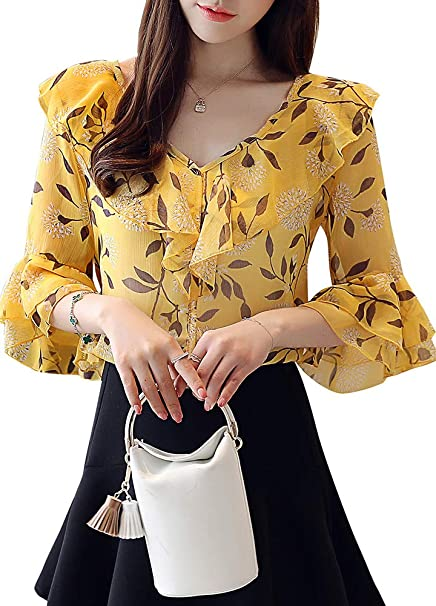 a039686ac43d Amazon.com  Romacci Women Summer Loose Chiffon Blouse Floral Print V Neck  Half Sleeves Casual Tops Office Shirts Beige White Yellow  Clothing