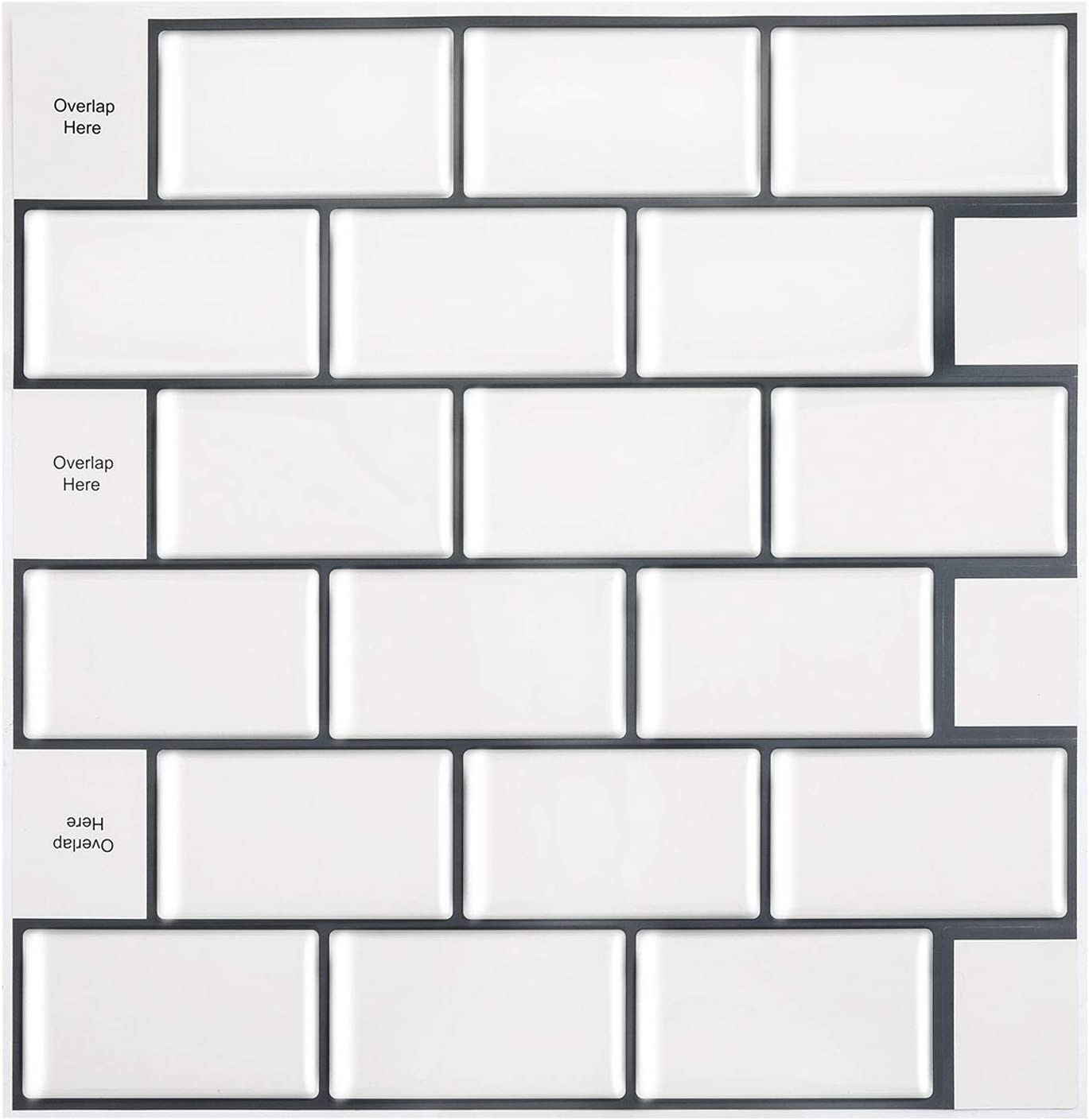 Amazon Com Homeymosaic Subway Peel And Stick Backsplash Tile For Kitchen 12 X12 3d Wall Vinyl Stickers With Grey Grout 10 Sheets White Home Kitchen