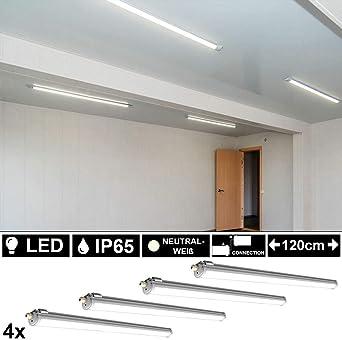 6x LED 36 Watt Industrie Wannen Decken Leuchten Feuchtraum
