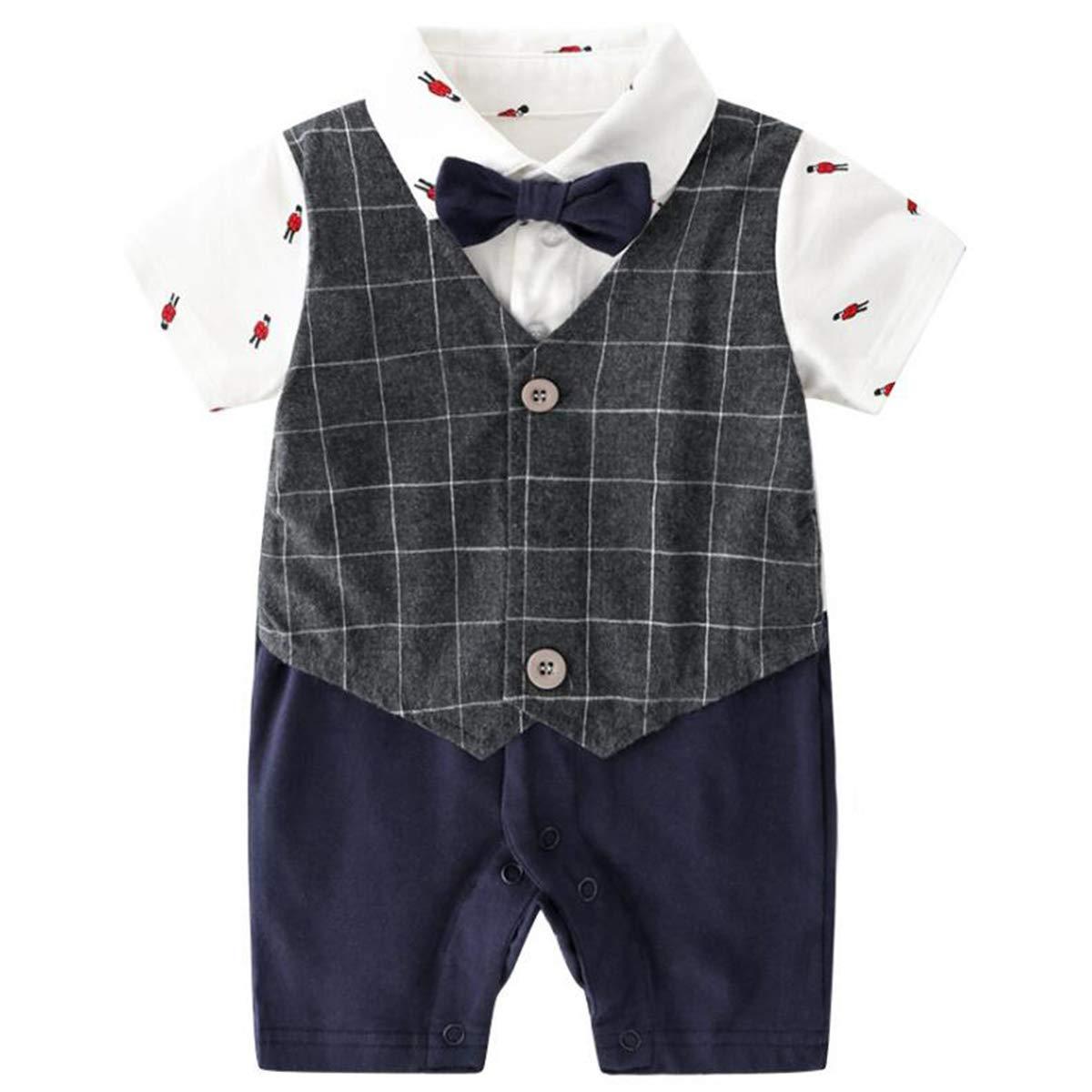 famuka 0-24M Baby Boy Gentleman Romper Long Sleeve Onesie