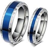AieniD Acero Inoxidable Anillos de Mujer y Hombre Halo de Promesa Boda Azul Circonita CZ de Plata Ancho 4mm