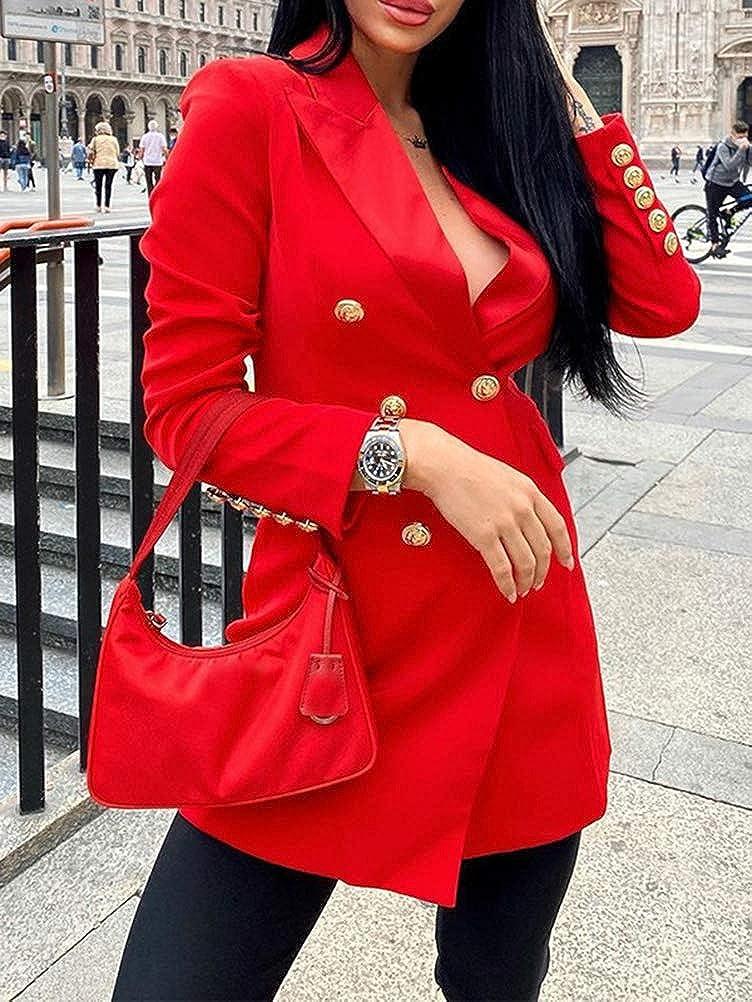 ORANDESIGNE Donna Vestiti Eleganti Corti Vestitini Blazer Ragazze Manica Lunga Scollo V Abito da Giorno Doppio Petto Abiti Casual OL Vestito Tailleur Puro Colore Mini Abito