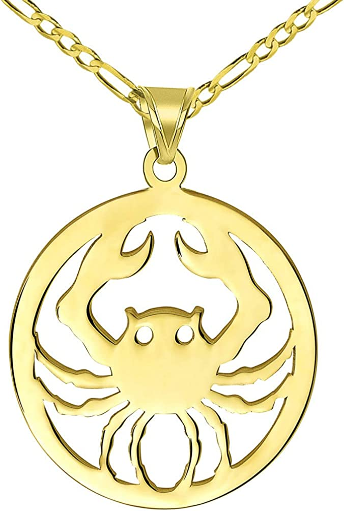 Solid 14k Yellow Gold Round Cancer Zodiac Sign Crab Disc Pendant with Figaro Chain Necklace