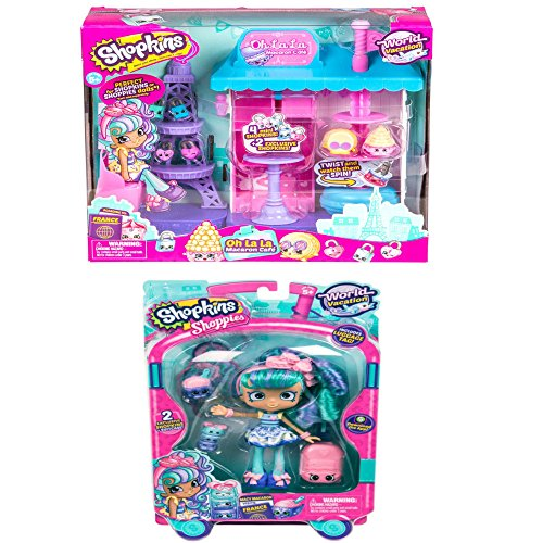 Shopkins World Vacation (Europe) - Oh La La Macaron Café and Shoppies Doll Macy Macaron Toy - Macys Maine