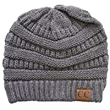 ScarvesMe CC Knit Fleece Fuzzy Lining Interior Thick Warm Beanie Skull Hat (Light Gray)