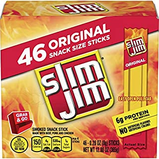 Slim Jim Smoked Snack Stick Pantry Pack, Original, 0.28 oz Stick 46Count