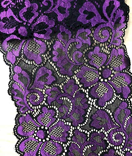 5 Yards Metallic Floral Lace Ribbon Stretch Tulle Lace Trim Elastic Nigerian African Fabric Width 7 Inch for DIY Craft Jewelry Making Clothes Accessories Gift Wrapping Wedding Party Decor (Purple)