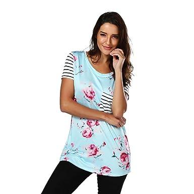 fa7018ef79f867 Women Stripe Short Sleeve Flower Printed T-Shirt Blouse Tops ...