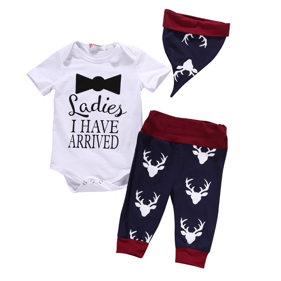 Baby Boys Romper Bodysuit+Deer Pants with Hat Christmas Outfits