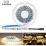 HitLights Warm White LED Light Strip, 3528-16.4' 300 LEDs, 3000K, 72 Lumens per Foot. 12V DC Tape Light