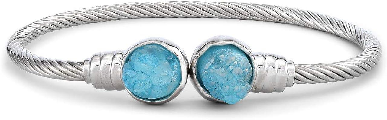 December Druzy Birthstone Light Sapphire Blue One Size Brass Metal Bracelet