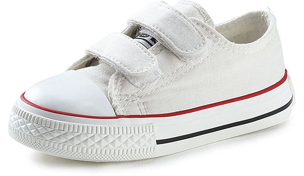 SFNLD InStar Kids Classic Round Toe Low Top Hook and Loop Strappy School Sneakers Canvas Shoes