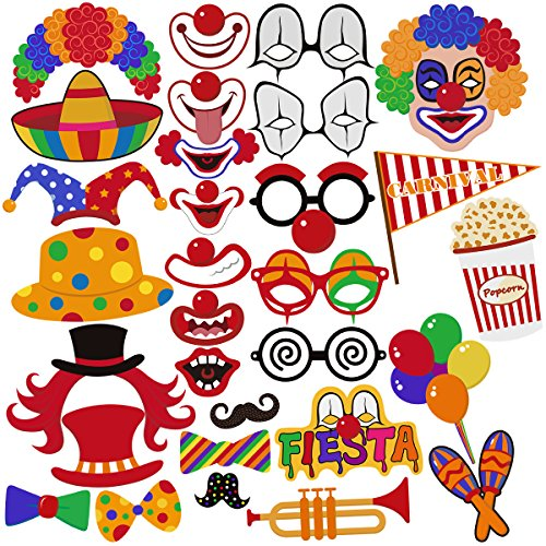 PBPBOX Photo Booth Props for  Birthday, Wedding, Carnival Party Props Favors - 47 (Carnival Themed Wedding)